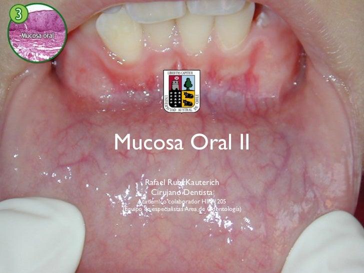 Mucosa Oral II        Rafael Rubí Kauterich         Cirujano Dentista      Académico colaborador HIPA 205(Equipo de especi...