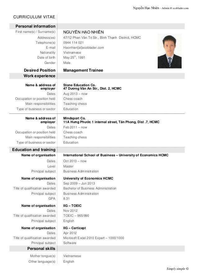 demo of resume - Roho.4senses.co