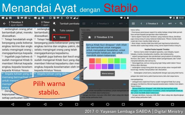 Menandai Ayat dengan Stabilo Pilih warna stabilo. 2017 © Yayasan Lembaga SABDA | Digital Ministry