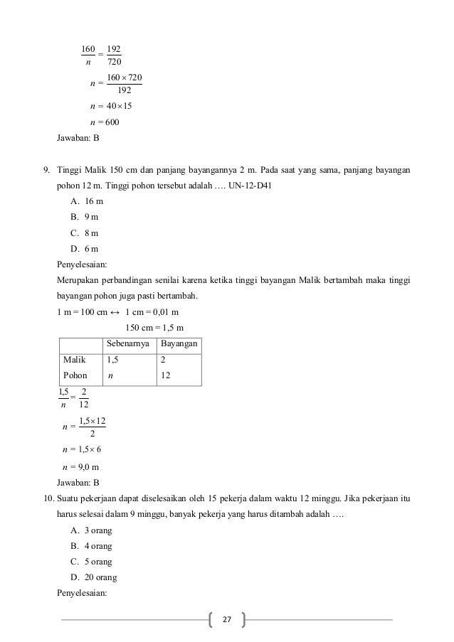 Soal Un Matematika Smp Tahun 2014 Dan Pembahasannya