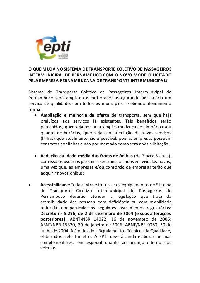 O QUE MUDA NO SISTEMA DE TRANSPORTE COLETIVO DE PASSAGEIROS INTERMUNICIPAL DE PERNAMBUCO COM O NOVO MODELO LICITADO PELA E...