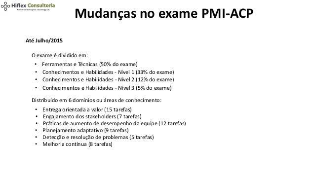 Mudanças no exame PMI-ACP Até Julho/2015 O exame é dividido em: • Ferramentas e Técnicas (50% do exame) • Conhecimentos e ...