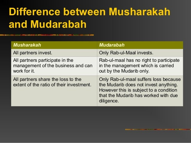 Difference between musharakah and mudarabah investment about ap capital investments