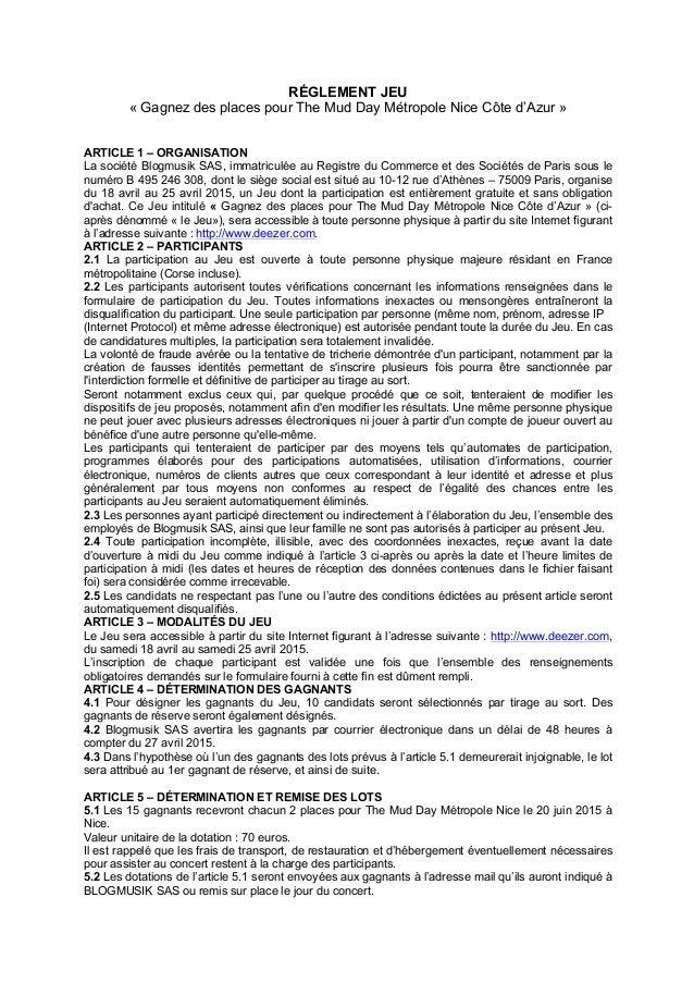 RÉGLEMENT JEU « Gagnez des places pour The Mud Day Métropole Nice Côte d'Azur » ARTICLE 1 – ORGANISATION La société Blogmu...