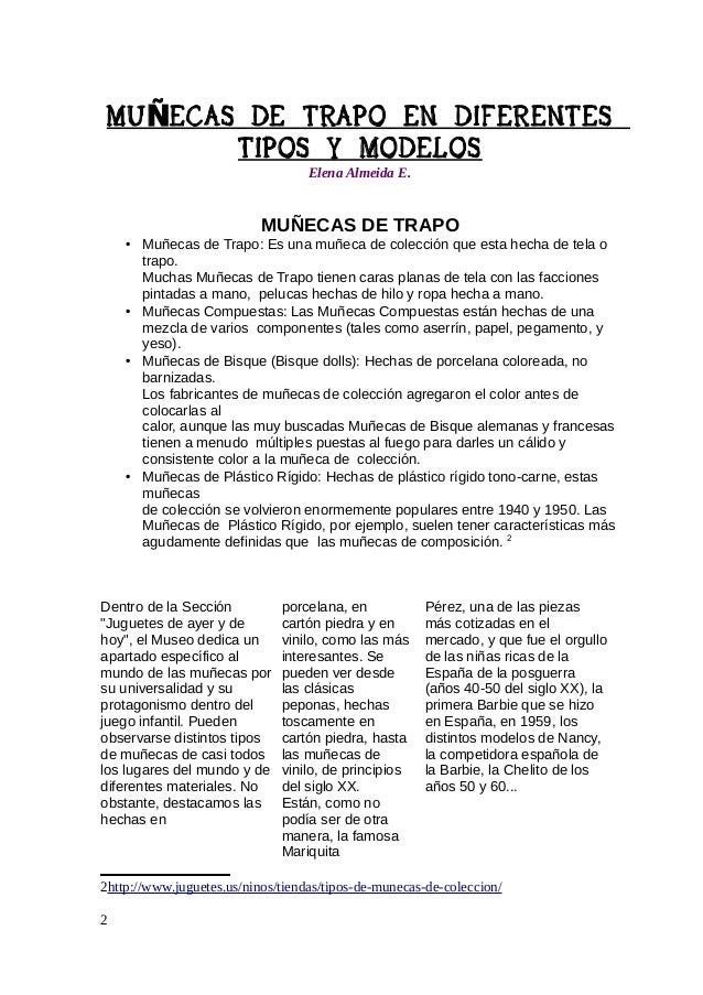 MU ÑECAS DE TRAPO EN DIFERENTES TIPOS Y MODELOS Elena Almeida E.  3