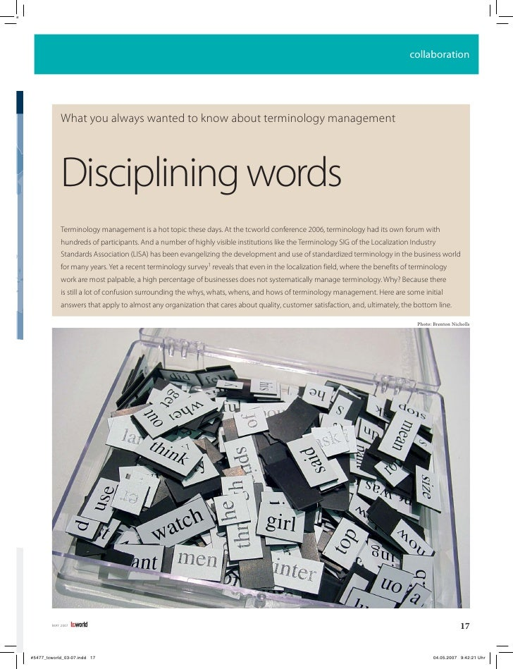 collaboration         What you always wanted to know about terminology management         Disciplining words     Terminolo...