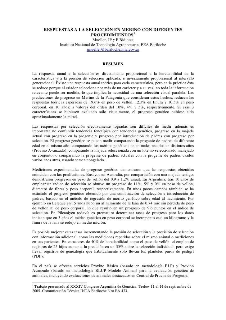 RESPUESTAS A LA SELECCIÓN EN MERINO CON DIFERENTES                         PROCEDIMIENTOS1                                ...