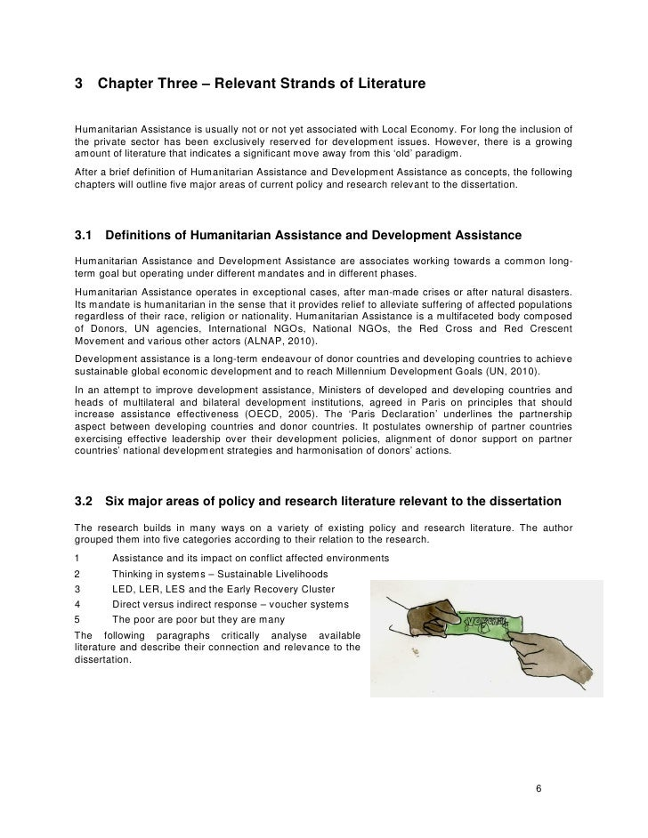 3 Chapter Three – Relevant Strands of Literature   Humanitarian Assistance is usually not or not yet associated with Local...