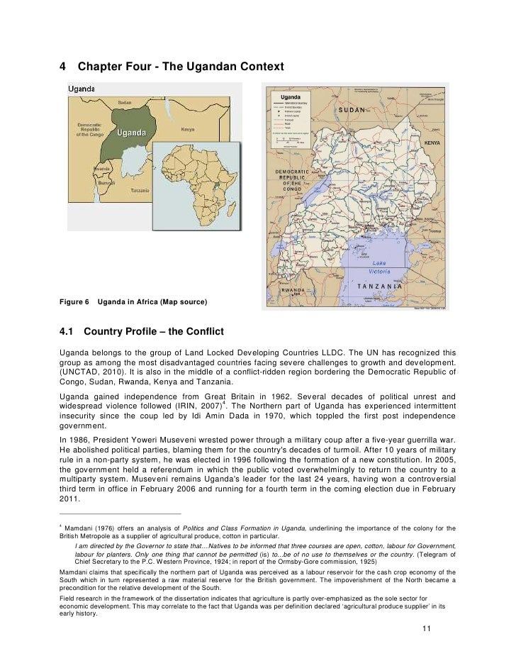 4 Chapter Four - The Ugandan Context     Figure 6     Uganda in Africa (Map source)   4.1      Country Profile – the Confl...