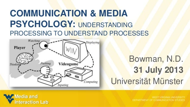 COMMUNICATION & MEDIA PSYCHOLOGY: UNDERSTANDING PROCESSING TO UNDERSTAND PROCESSES Bowman, N.D. 31 July 2013 Universität M...