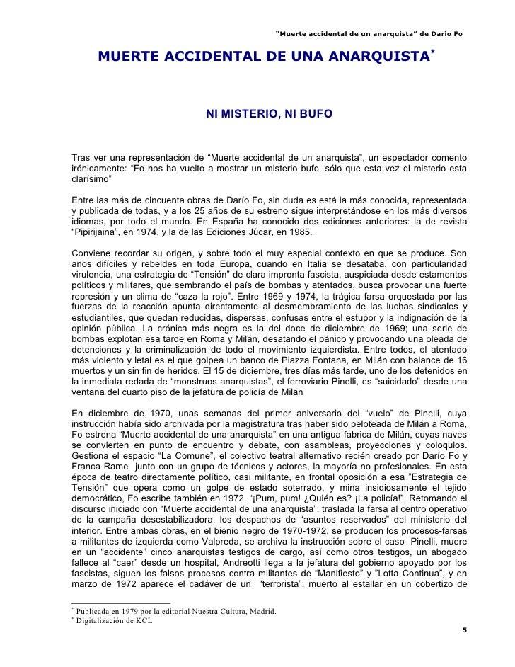 """""""Muerte accidental de un anarquista"""" de Darío Fo             MUERTE ACCIDENTAL DE UNA ANARQUISTA**                        ..."""