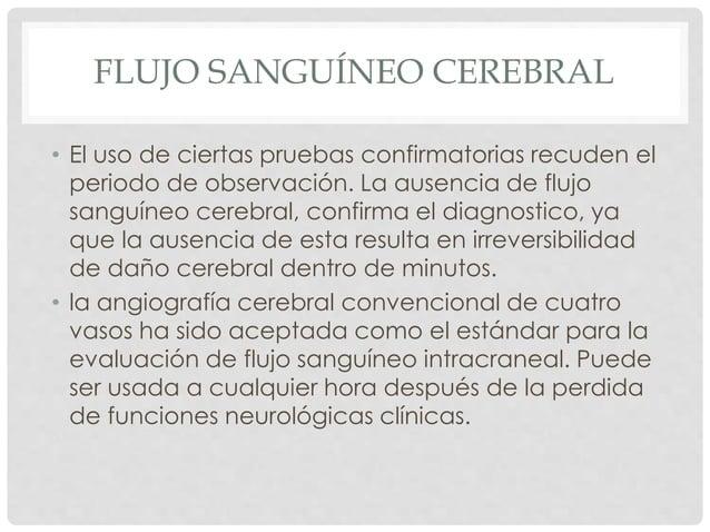 FLUJO SANGUÍNEO CEREBRAL  • El uso de ciertas pruebas confirmatorias recuden el  periodo de observación. La ausencia de fl...