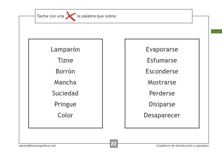 Tacha con instrucciones...            Escribir lasuna     la palabra que sobra:                     Lamparón              ...