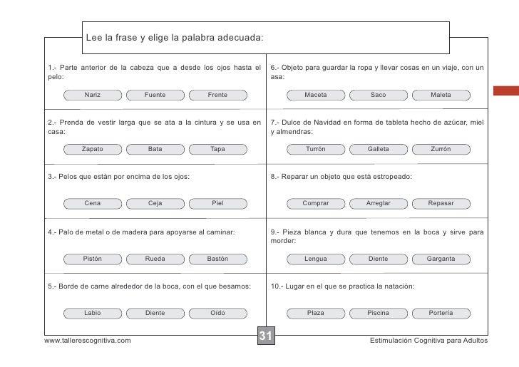 Lee la frase y elige la palabra adecuada:            Escribir las instrucciones... 1.- Parte anterior de la cabeza que a d...