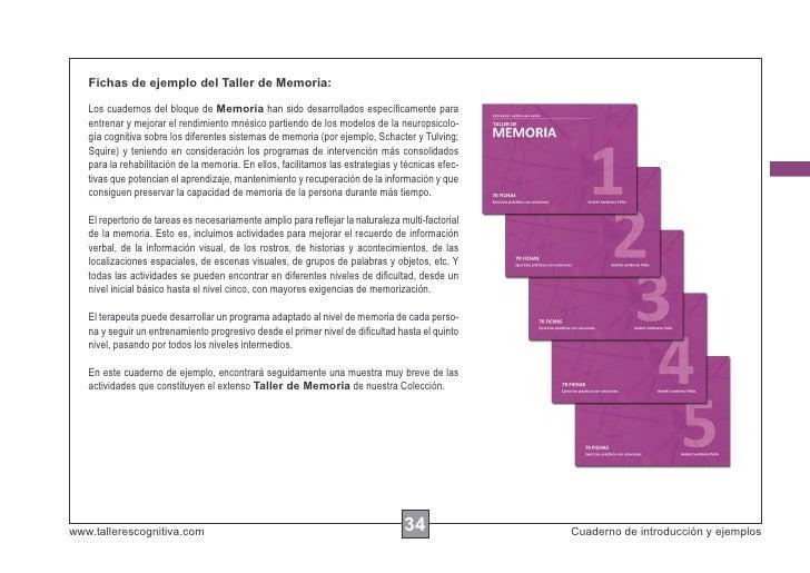 Fichas de ejemplo del Taller de Memoria:   Los cuadernos del bloque de Memoria han sido desarrollados específicamente para ...