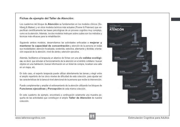 Fichas de ejemplo del Taller de Atención:   Los cuadernos del bloque de Atención se fundamentan en los modelos clínicos (S...