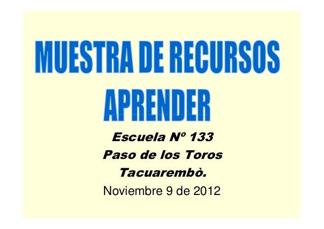 Escuela Nº 133Paso de los Toros  Tacuarembò.Noviembre 9 de 2012