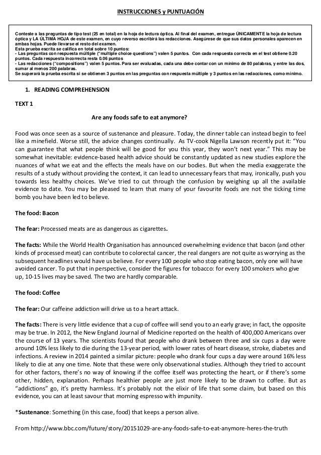 INSTRUCCIONES y PUNTUACIÓN Conteste a las preguntas de tipo test (25 en total) en la hoja de lectura óptica. Al final del ...