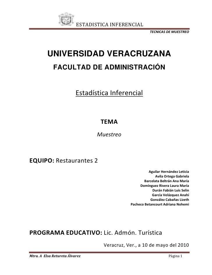 UNIVERSIDAD VERACRUZANA<br />FACULTAD DE ADMINISTRACIÓN<br />Estadística Inferencial<br />TEMA<br />Muestreo<br />EQUIPO: ...
