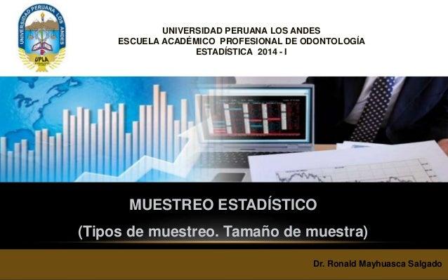 MUESTREO ESTADÍSTICO (Tipos de muestreo. Tamaño de muestra) Dr. Ronald Mayhuasca Salgado UNIVERSIDAD PERUANA LOS ANDES ESC...