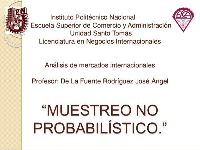 Instituto Politécnico Nacional Escuela Superior de Comercio y Administración Unidad Santo Tomás Licenciatura en Negocios I...