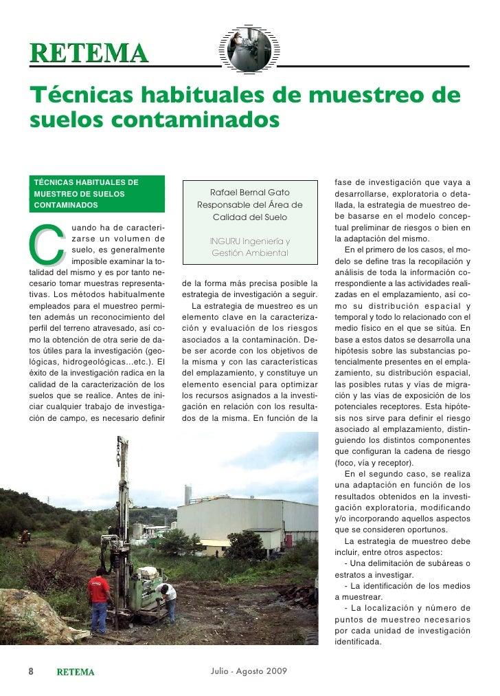 Técnicas habituales de muestreo desuelos contaminados    TÉCNICAS HABITUALES DE                                           ...