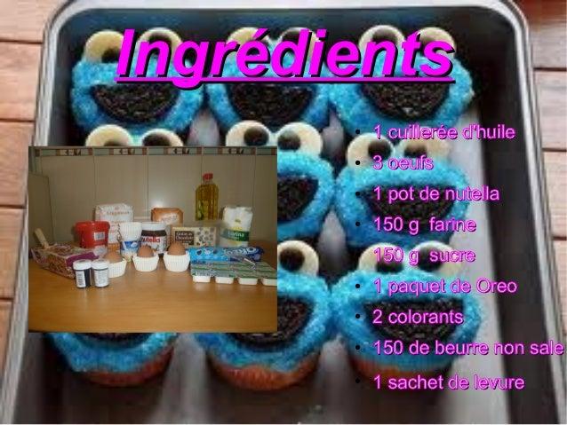 IngrédientsIngrédients●1 cuillerée dhuile1 cuillerée dhuile●3 oeufs3 oeufs●1 pot de nutella1 pot de nutella●150 g farine15...