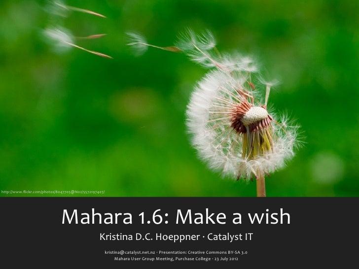 http://www.flickr.com/photos/8047705@N02/5572197407/                             Mahara 1.6: Make a wish           ...