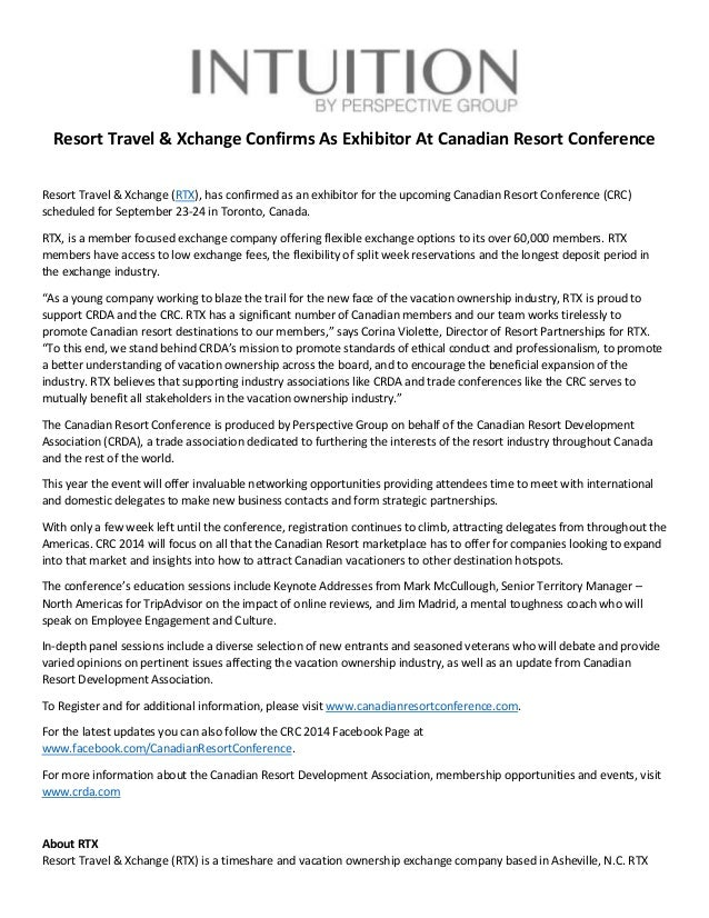 resort travel & xchange confirms as exhibitor at canadian