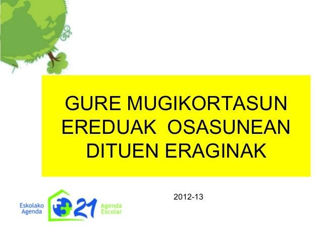GURE MUGIKORTASUN EREDUAK OSASUNEAN DITUEN ERAGINAK 2012-13