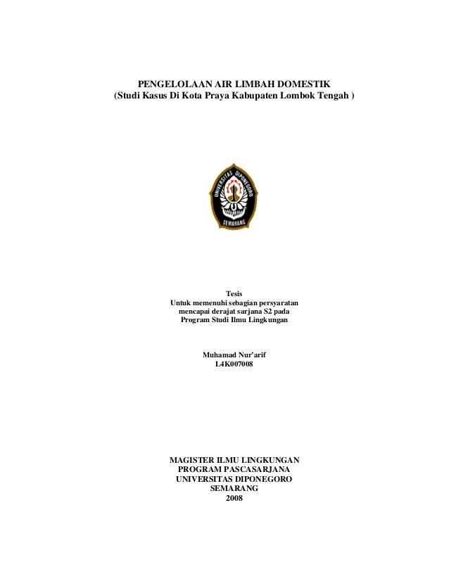 PENGELOLAAN AIR LIMBAH DOMESTIK(Studi Kasus Di Kota Praya Kabupaten Lombok Tengah )                           Tesis       ...
