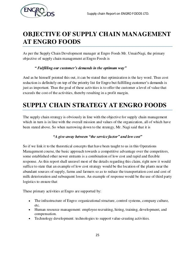 report on supply chain on engro foods