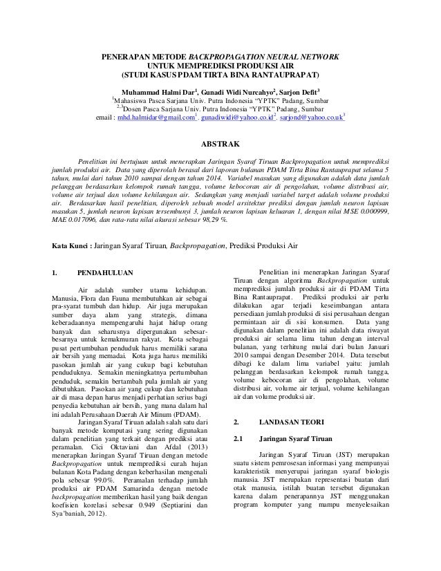 PENERAPAN METODE BACKPROPAGATION NEURAL NETWORK UNTUK MEMPREDIKSI PRODUKSI AIR (STUDI KASUS PDAM TIRTA BINA RANTAUPRAPAT) ...