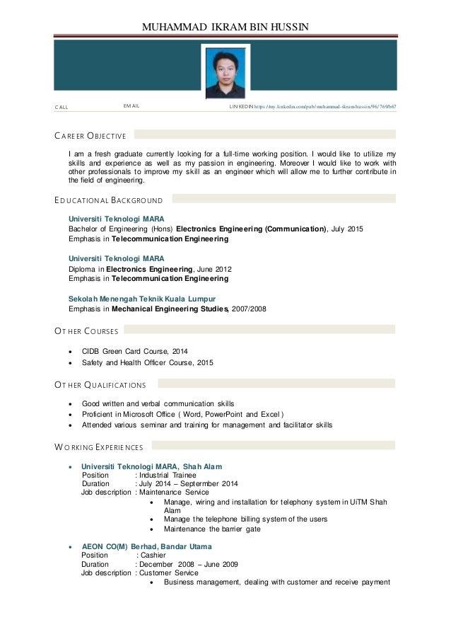 muhammad ikram hussin resume