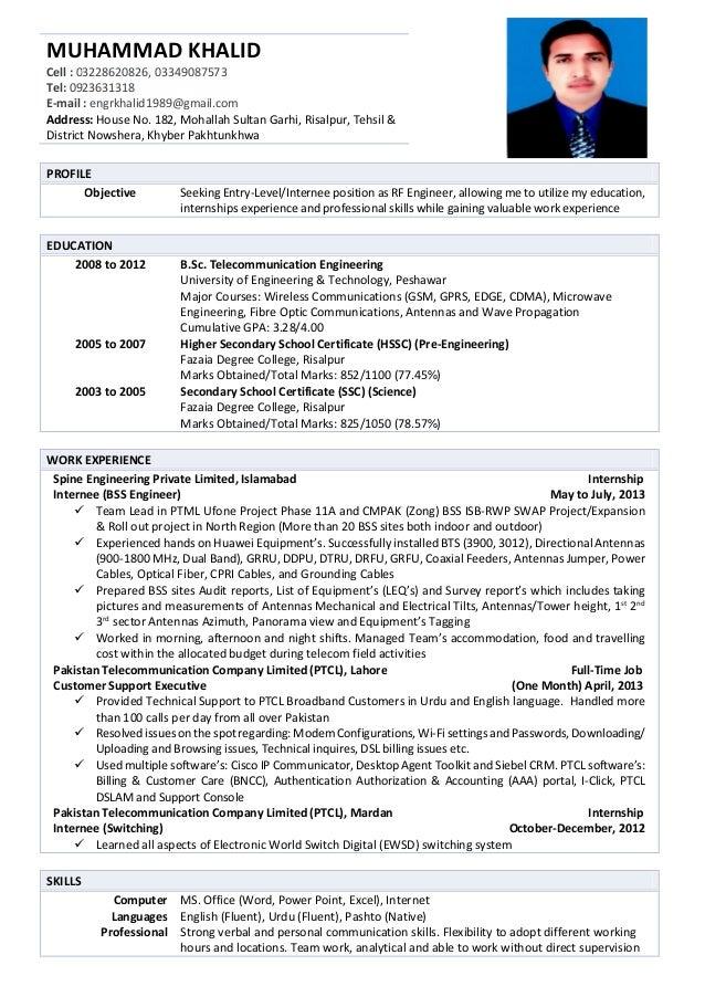 muhammad-khalid-cv-1-638 Telecom Resume Format Download on