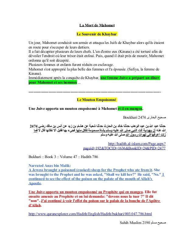 La Mort de Mahomet                                                  Le Souvenir de KhaybarUn jour, Mahomet conduisit son a...