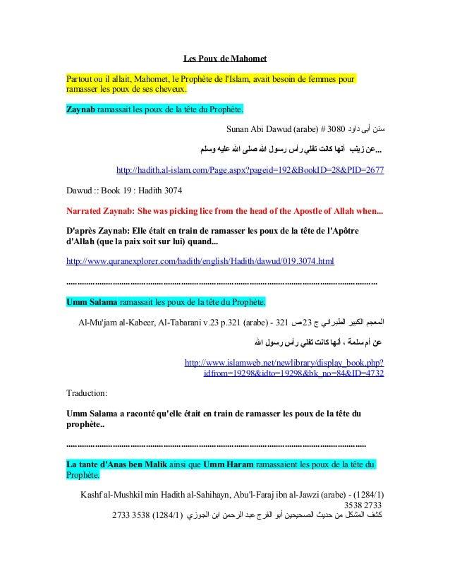 Les Poux de MahometPartout ou il allait, Mahomet, le Prophète de lIslam, avait besoin de femmes pourramasser les poux de s...