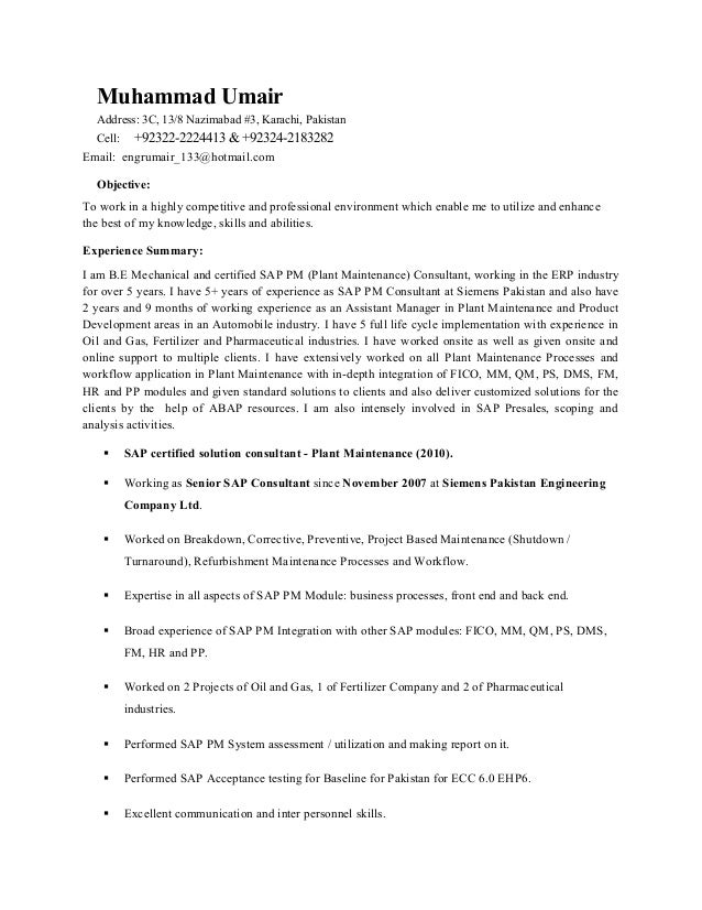 muhammad umair cv sap pm wo pic - Sap Fico Resume Sample