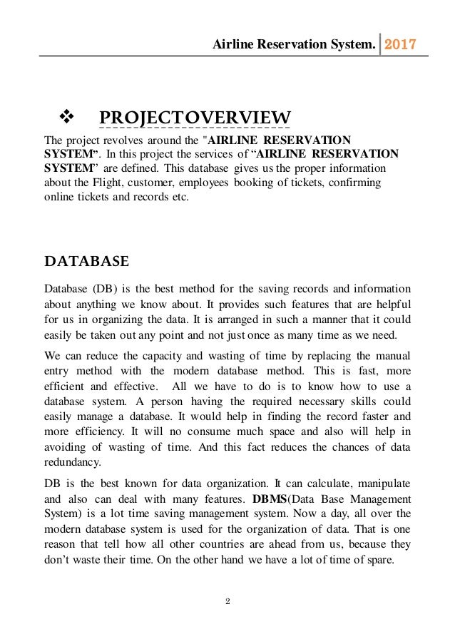 MS Access Database Project proposal on Airline Reservation