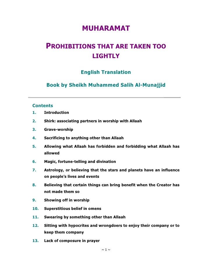 MUHARAMAT        PROHIBITIONS THAT ARE TAKEN TOO                                LIGHTLY                           English ...