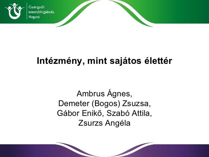 Intézmény ,  mint sajátos élettér Ambrus Ágnes , Demeter (Bogos) Zsuzsa , Gábor Enikő ,  Szabó Attila , Zsurzs Angéla