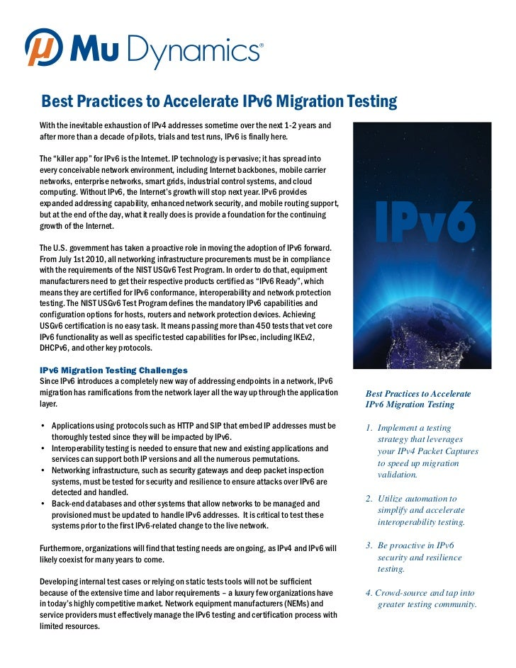 Best Practices to Accelerate IPv6 Migration TestingWith the inevitable exhaustion of IPv4 addresses sometime over the next...