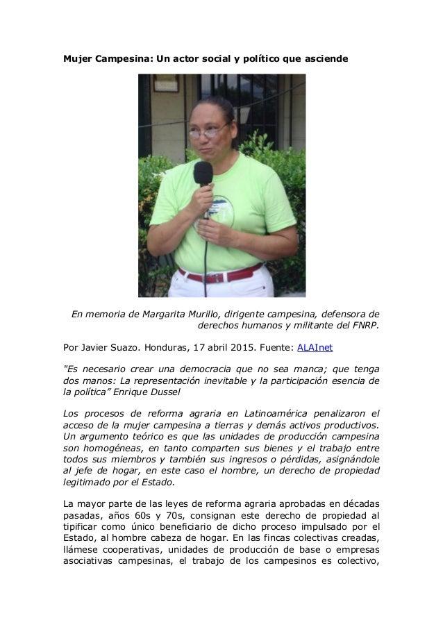 Mujer Campesina: Un actor social y político que asciende En memoria de Margarita Murillo, dirigente campesina, defensora d...