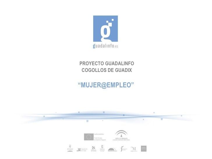 "PROYECTO GUADALINFO COGOLLOS DE GUADIX "" MUJER@EMPLEO"""