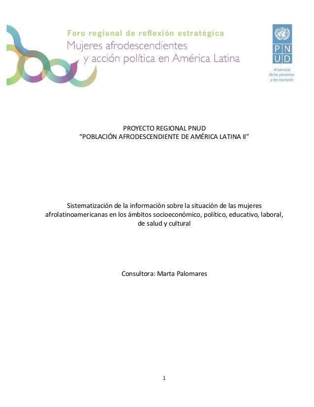 """PROYECTO REGIONAL PNUD """"POBLACIÓN AFRODESCENDIENTE DE AMÉRICA LATINA II""""  Sistematización de la información sobre la situa..."""