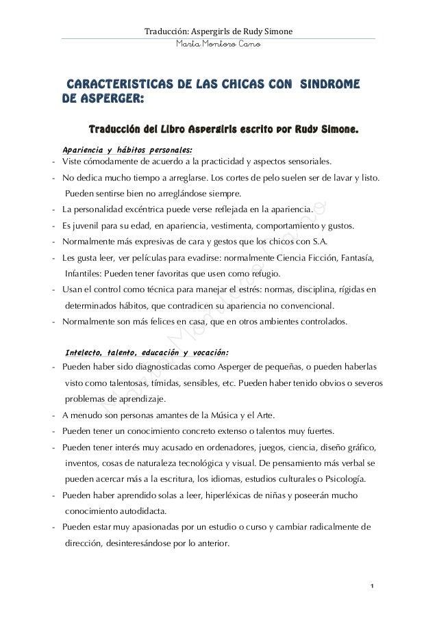 Traducción:  Aspergirls  de  Rudy  Simone   Marta Montoro Cano       1           Aspergirls     ...