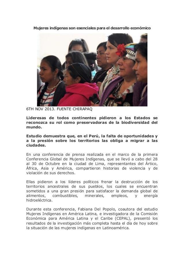 Mujeres indígenas son esenciales para el desarrollo económico  6TH NOV 2013. FUENTE CHIRAPAQ Lideresas de todos continente...