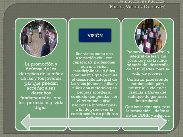 La promoción y defensa de los derechos de la niñez de las y los jóvenes par que puedan acceder a sus derechos fundamentale...