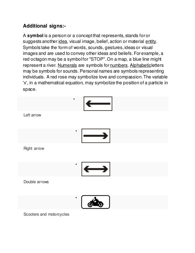 Additional signs:- A symbol is a person or a conceptthat represents,stands for or suggests another idea, visual image, bel...