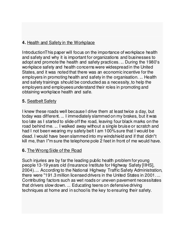 4. Health and Safety in the Workplace IntroductionThis paper will focus on the importance of workplace health and safety a...